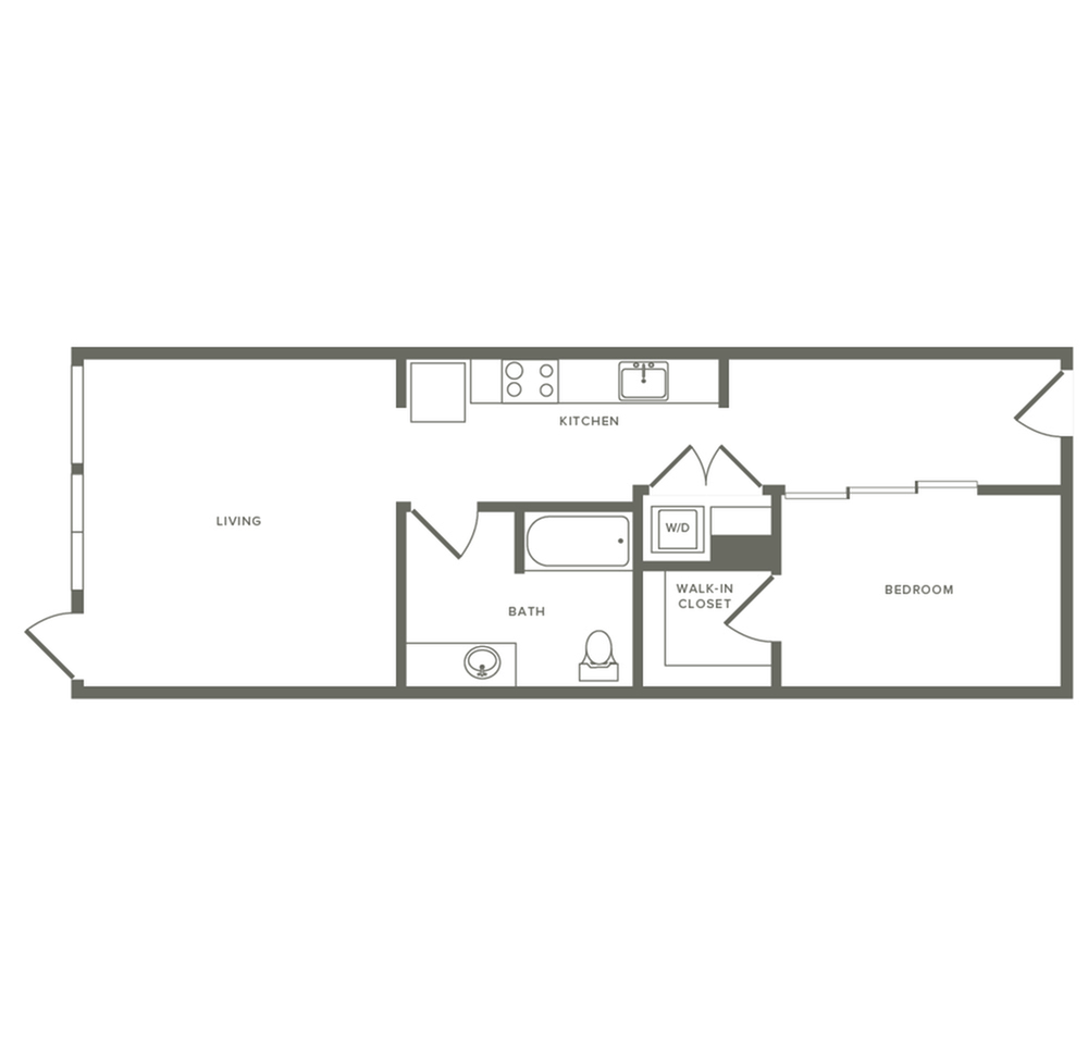 One bedroom ranging from 741 to 945 square feet one bath apartment floorplan image