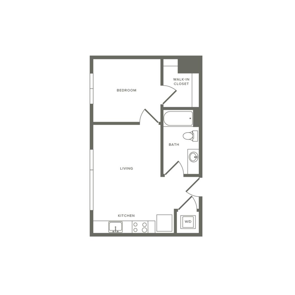 532 square foot one bedroom one bath apartment floorplan image