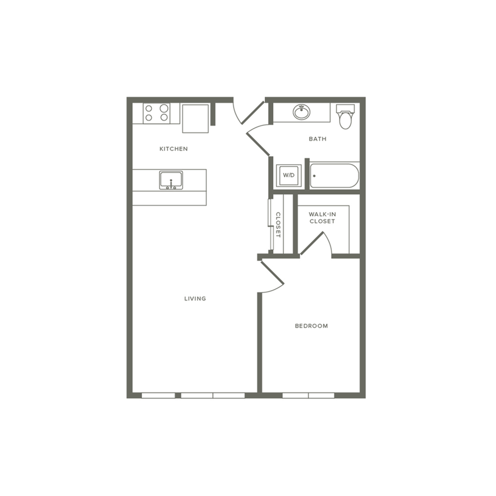 One bedroom ranging from 649 to 677 square feet one bath apartment floorplan image