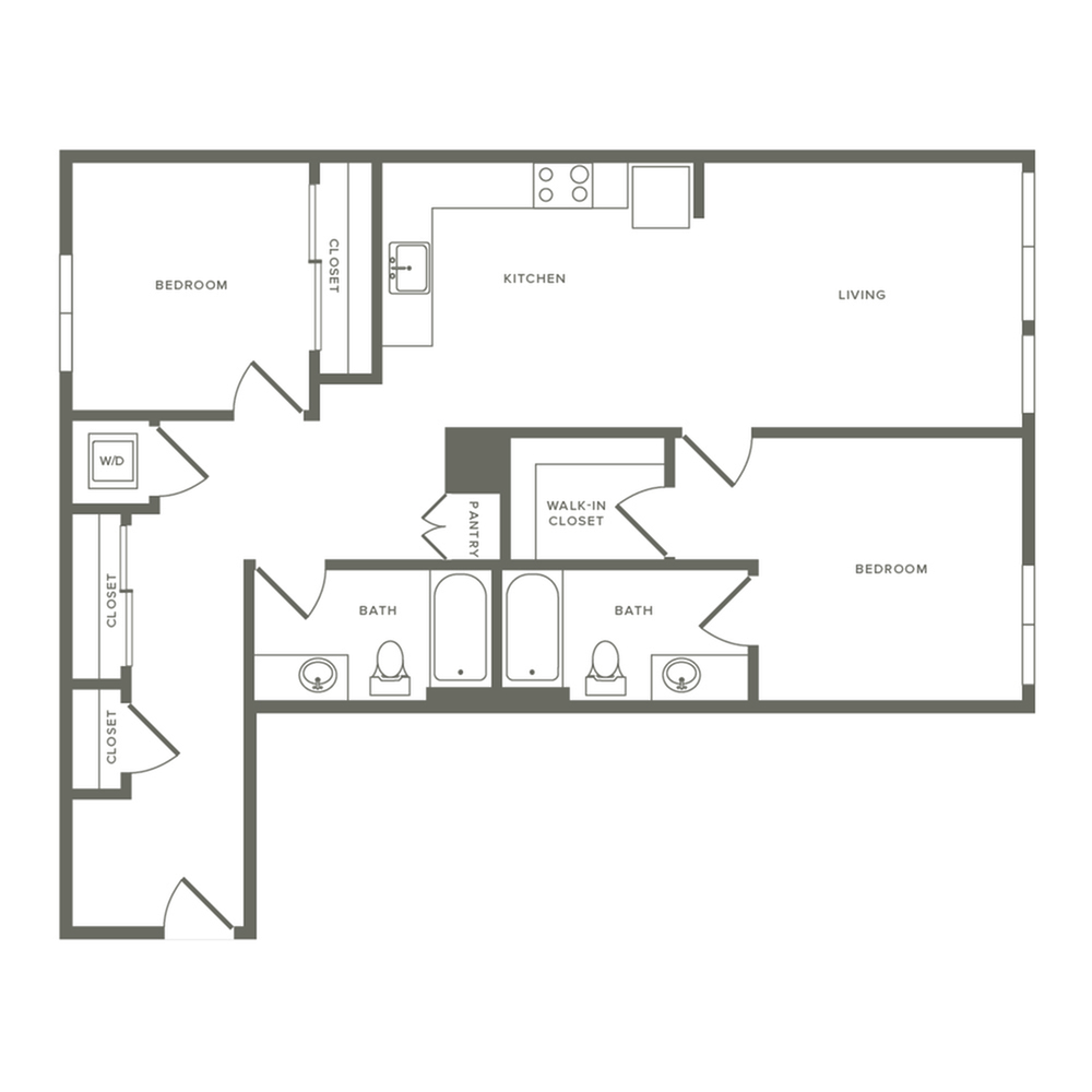 1027 square foot two bedroom two bath apartment floorplan image