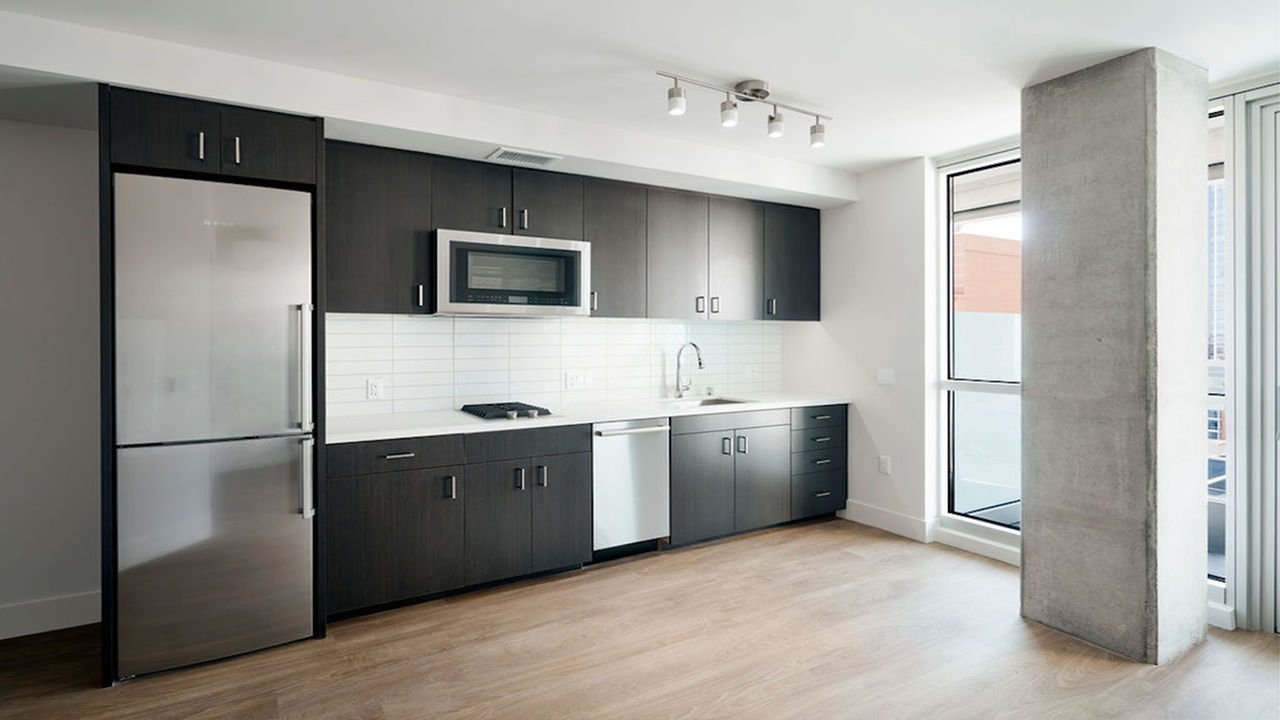 Galley Kitchen with view into living area