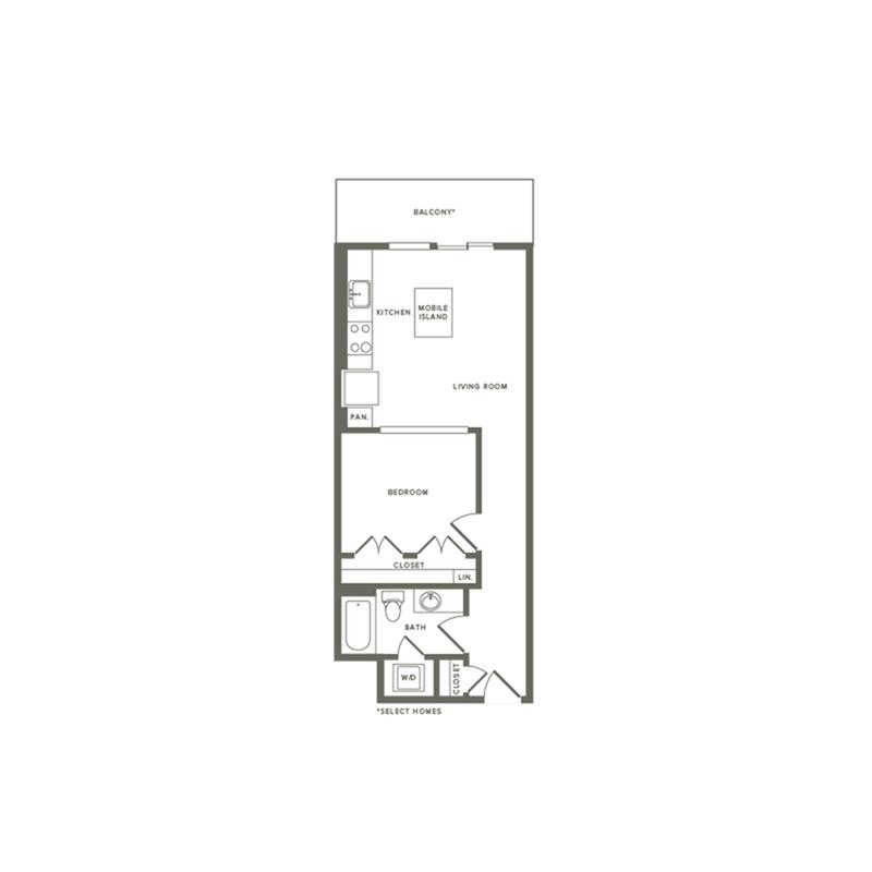 609 square foot one bedroom one bath apartment floorplan image