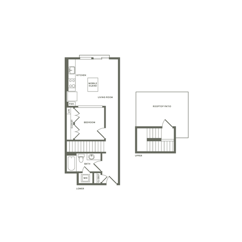 647 square foot one bedroom one bath with rooftop patio apartment floorplan image