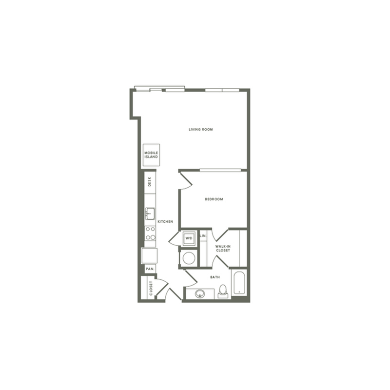 741 square foot one bedroom one bath apartment floorplan image