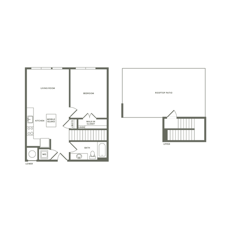 749 square foot one bedroom one bath with rooftop patio apartment floorplan image