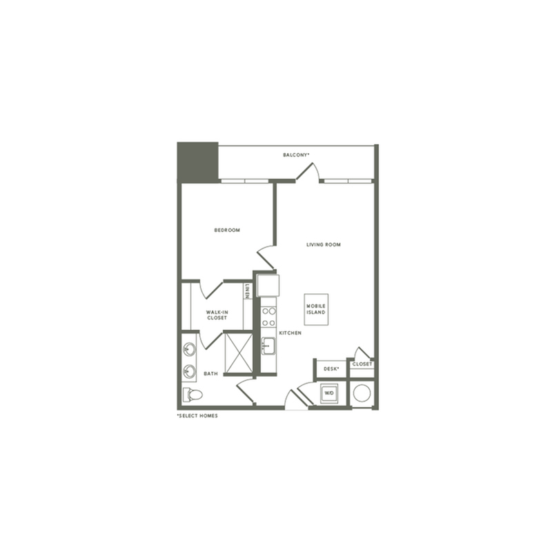691 to 775 square foot one bedroom one bath apartment floorplan image