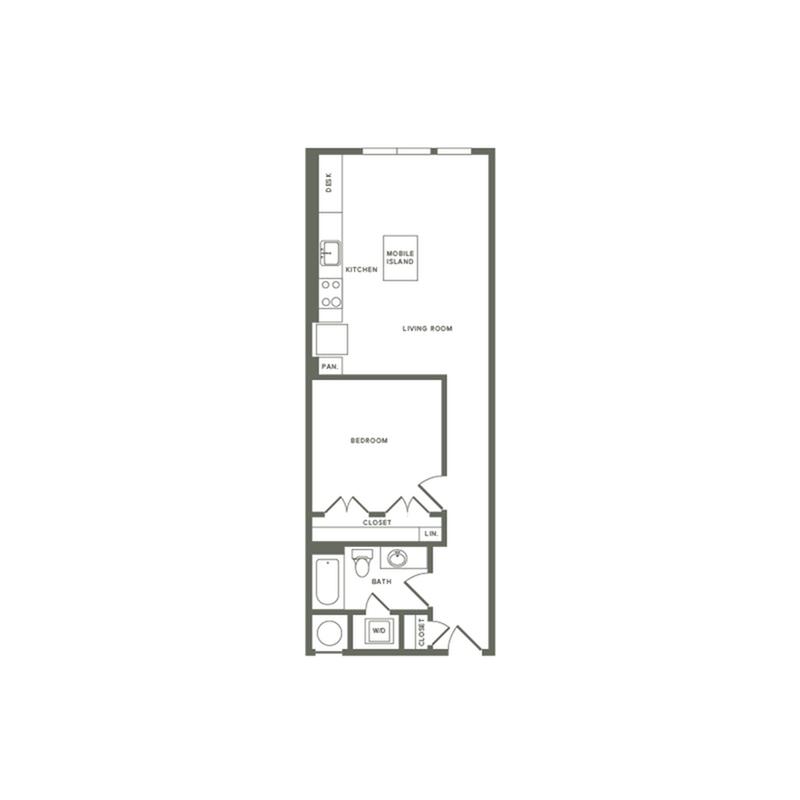 704 square foot one bedroom one bath apartment floorplan image