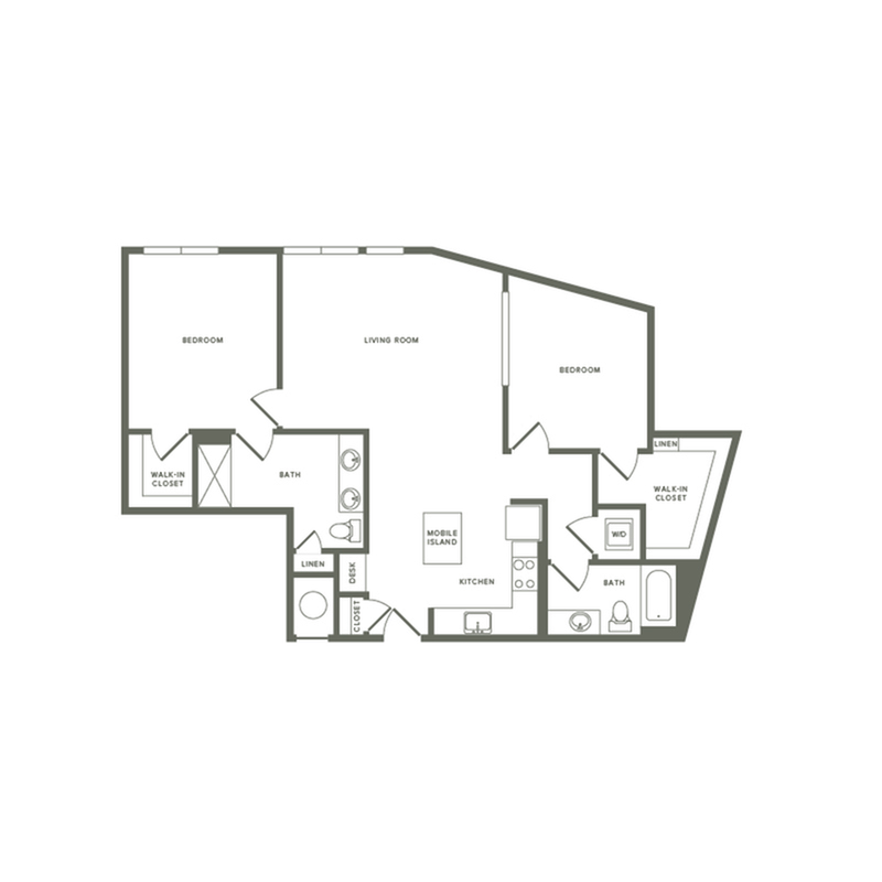 1189 square foot two bedroom two bath apartment floorplan image