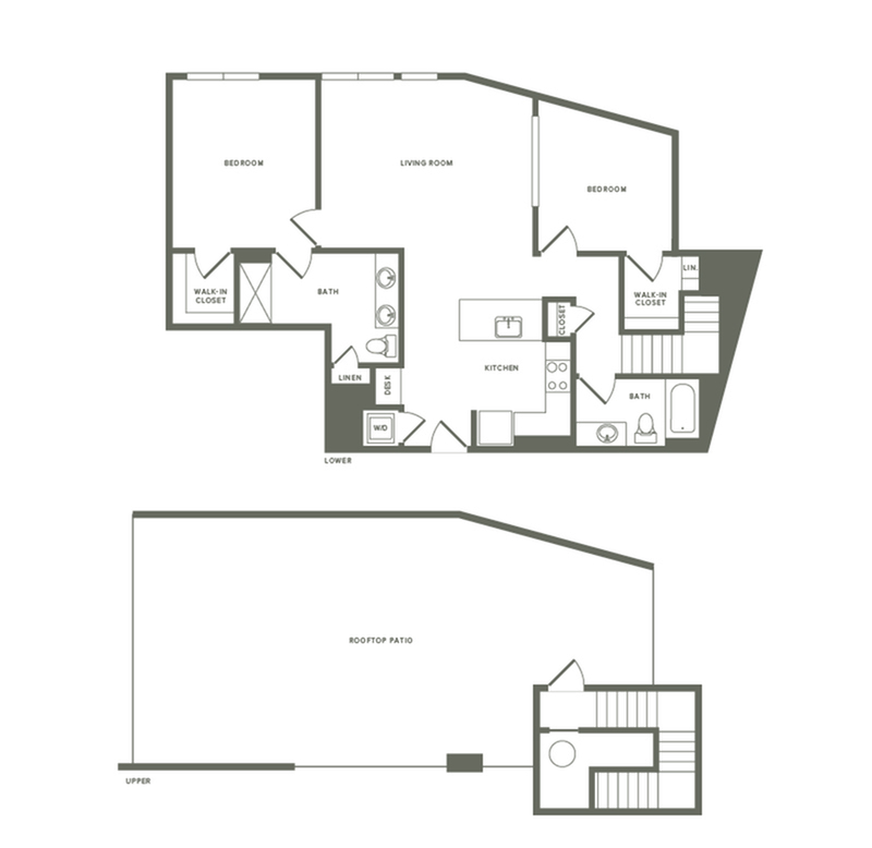 1275 square foot two bedroom two bath with rooftop patio apartment floorplan image