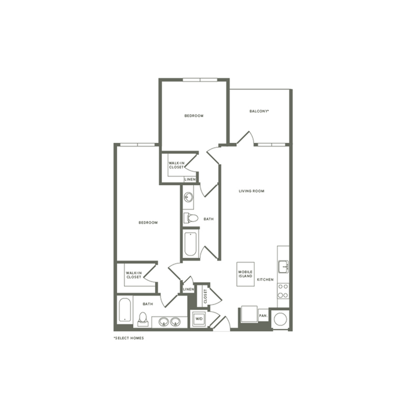 1092 square foot two bedroom two bath apartment floorplan image