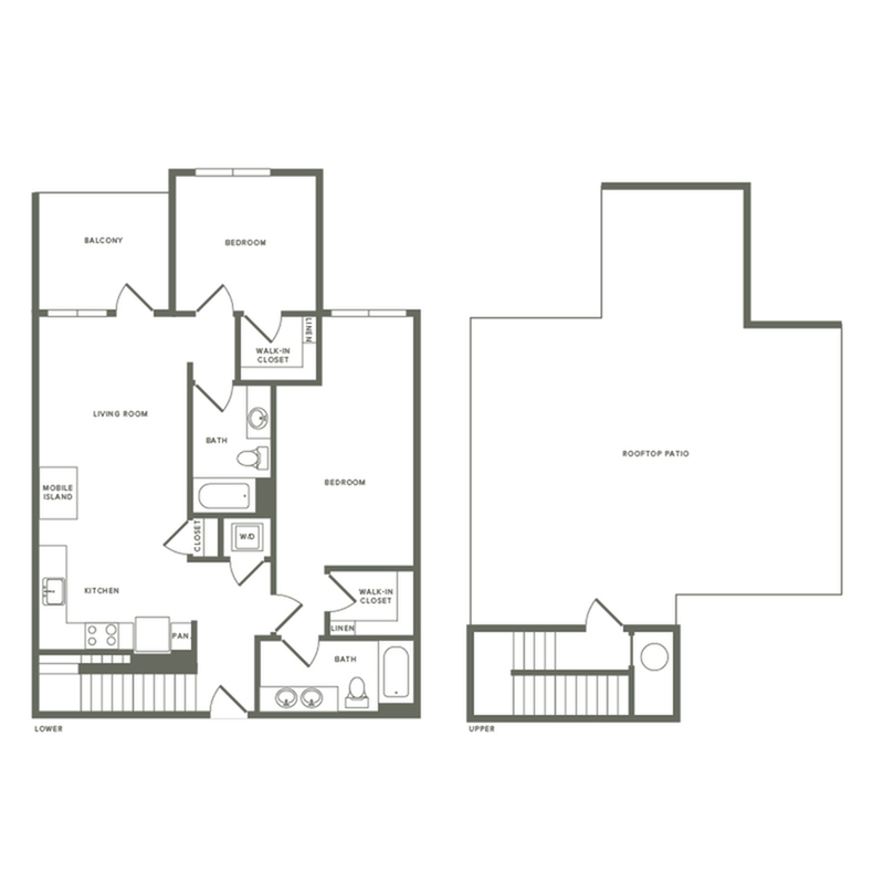 1162 square foot two bedroom two bath with rooftop patio apartment floorplan image