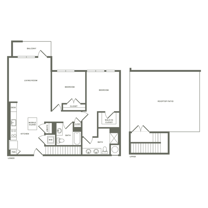 1210 square foot two bedroom two bath with rooftop patio apartment floorplan image