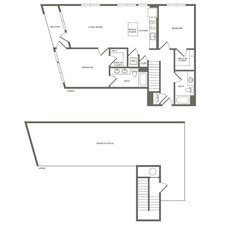 1201 square foot two bedroom two bath with rooftop patio apartment floorplan image