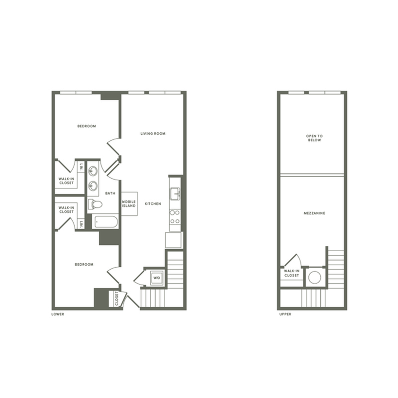 1134 square foot two bedroom two bath with mezzanine apartment floorplan image