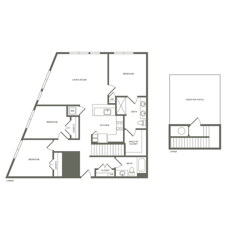 1374 square foot three bedroom two bath with rooftop patio apartment floorplan image