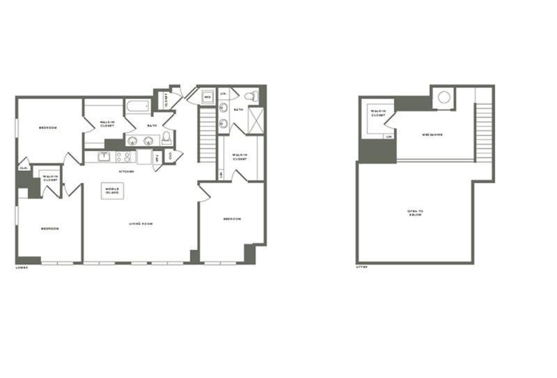 1700 square foot three bedroom two bath with mezzanine apartment floorplan image