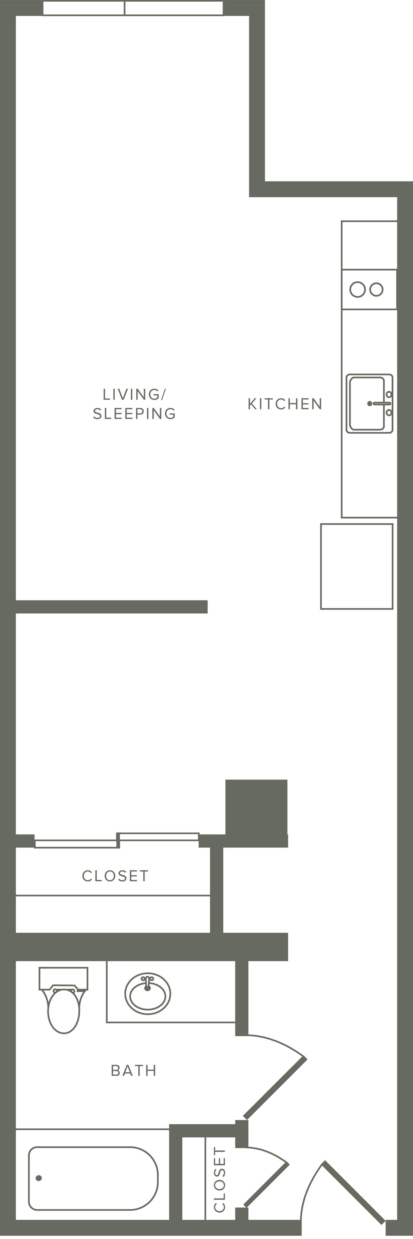 549 square foot studio one bath floor plan image