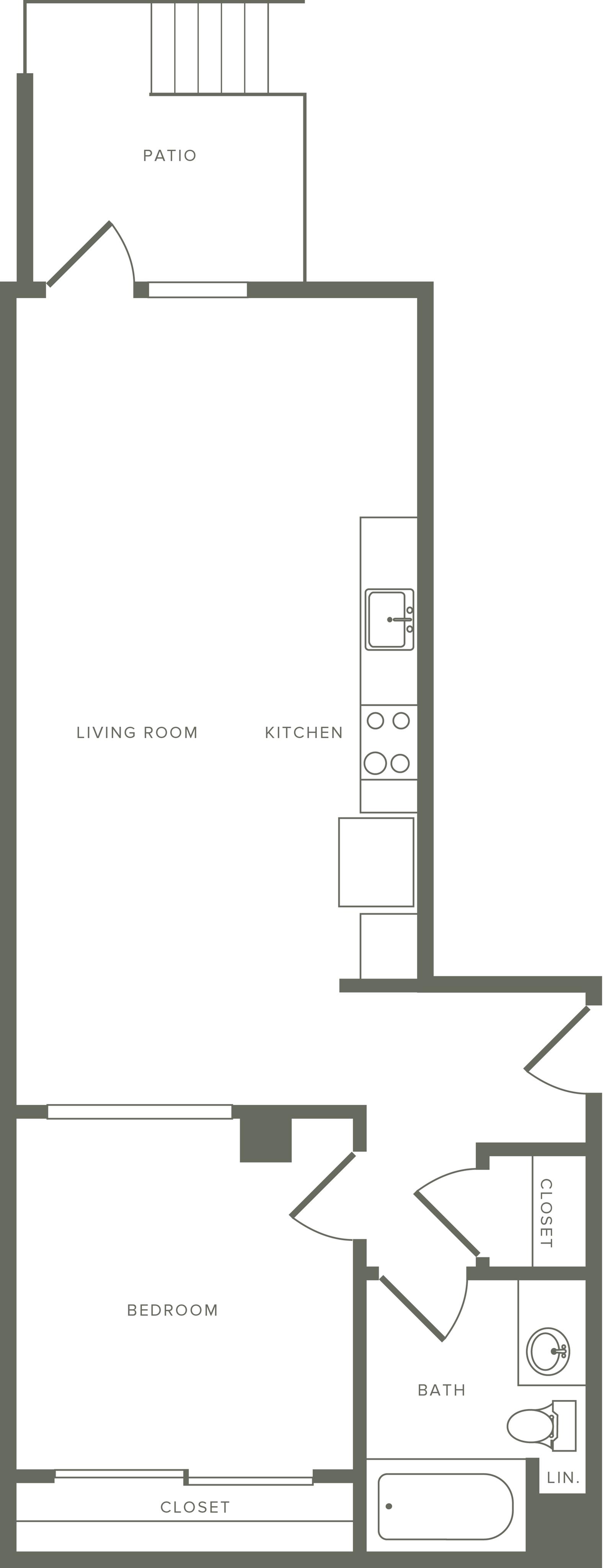 714 square foot one bedroom one bath floor plan image