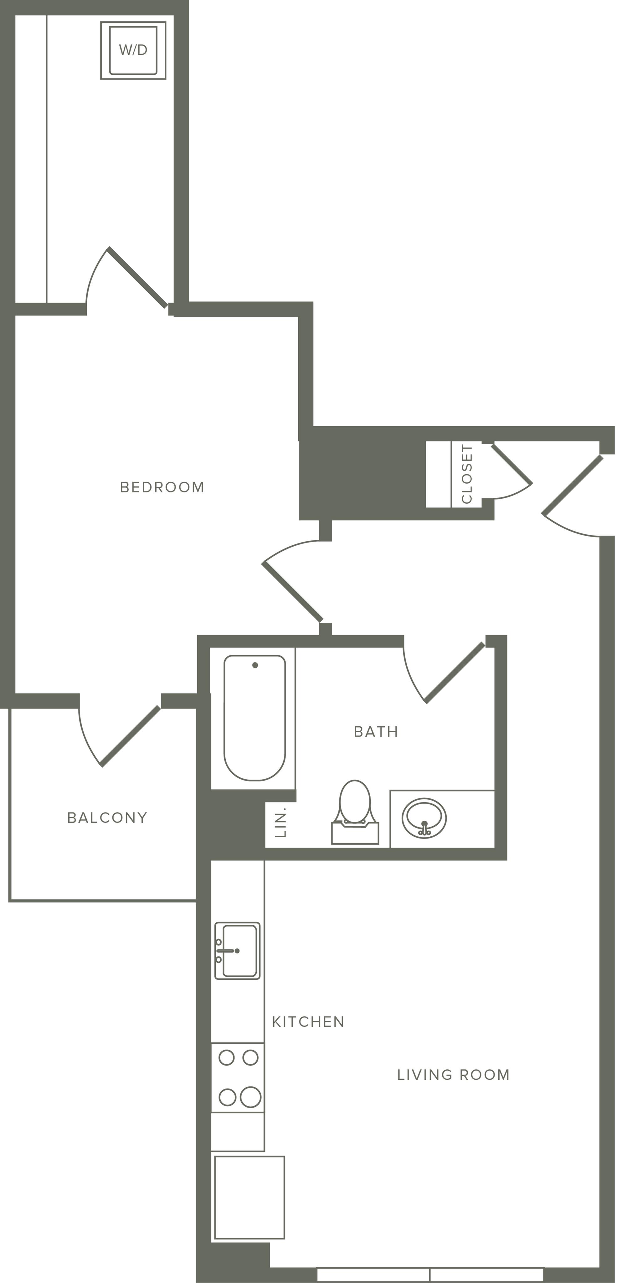 656 square foot one bedroom one bath floor plan image