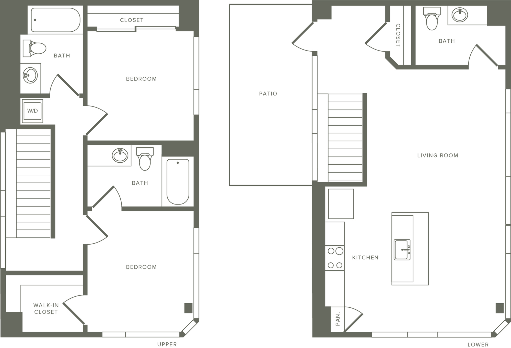 1,254 square foot two bedroom three bath apartment two story penthouse floorplan image