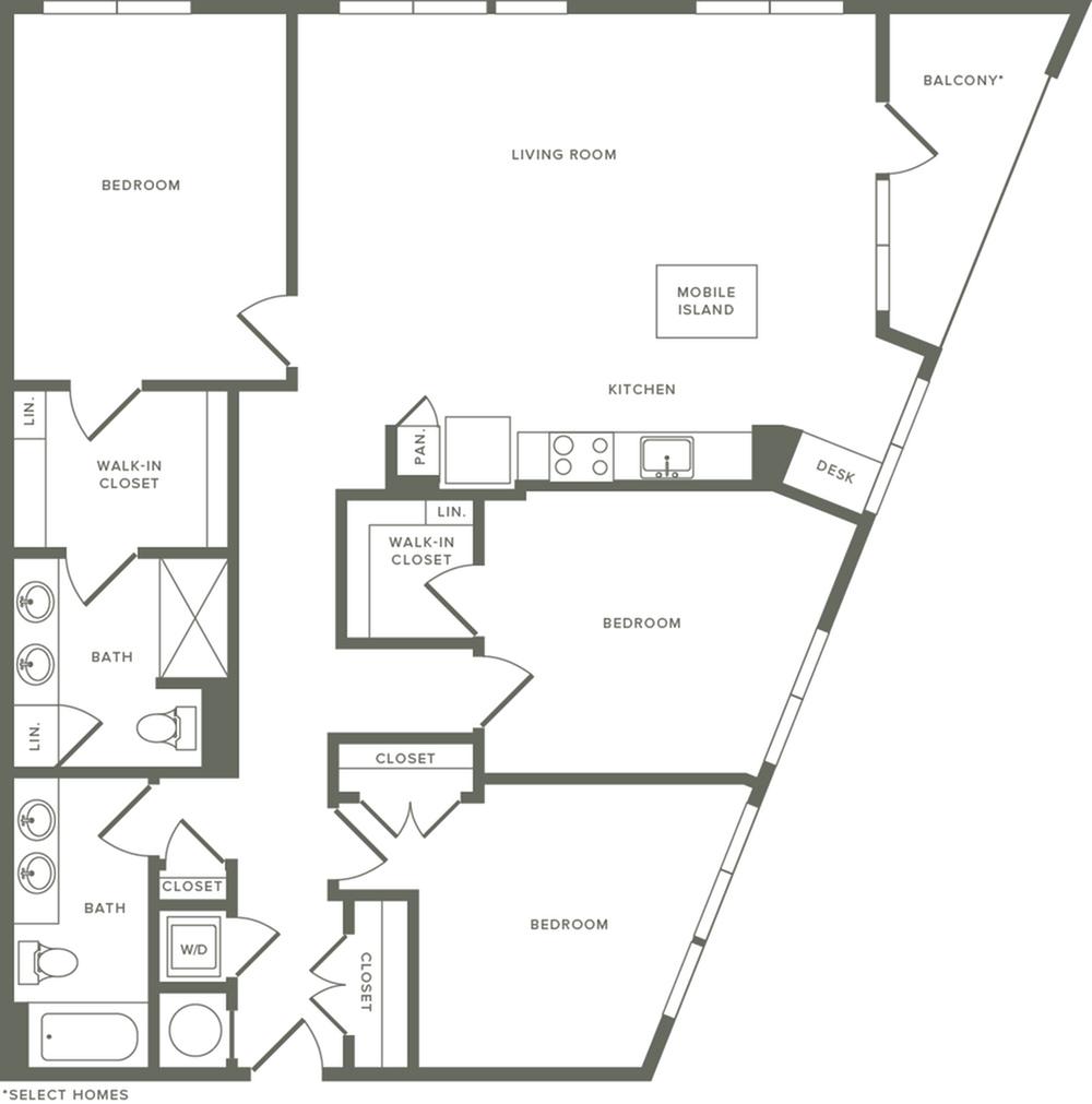 1482 square foot three bedroom two bath apartment floorplan image