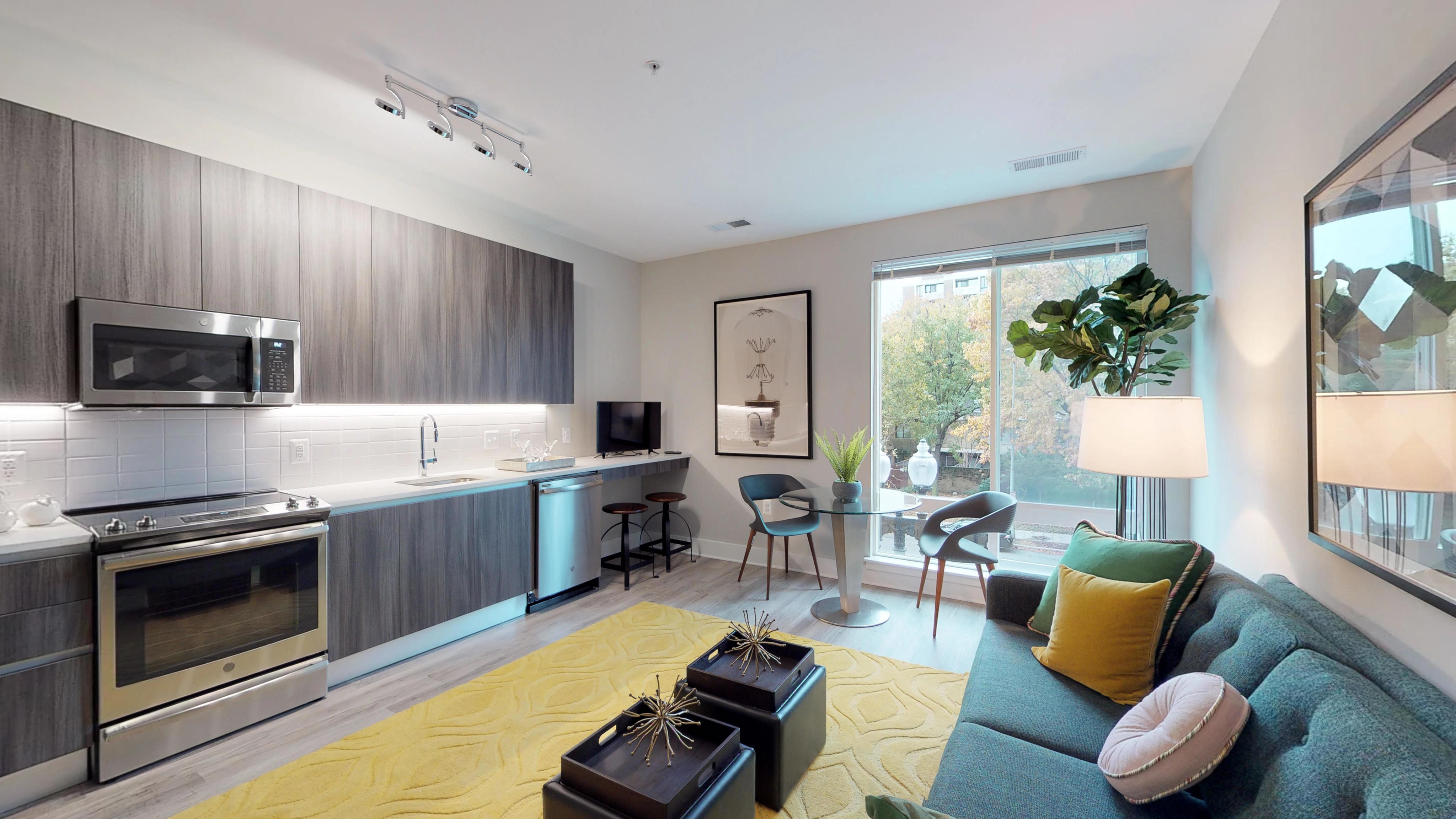 Open kitchen to living space at Modern on M