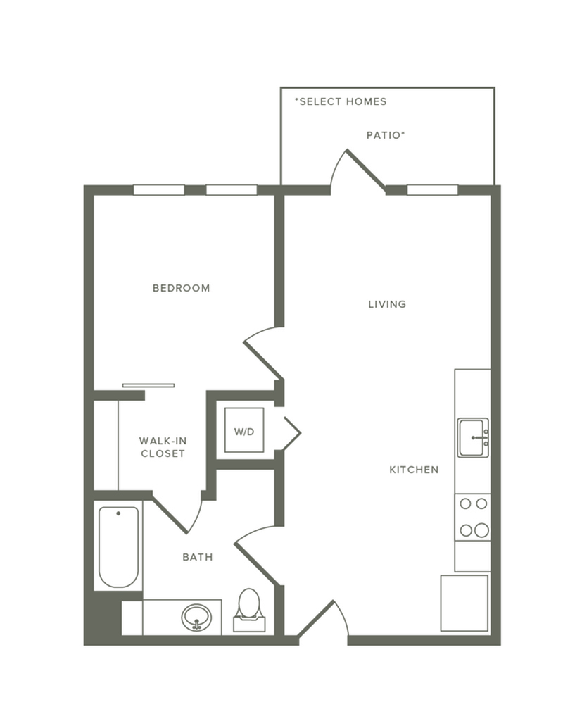 557 square foot one bedroom one bath floorplan image