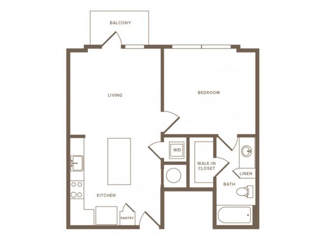 735 square foot one bedroom one bath apartment floorplan image