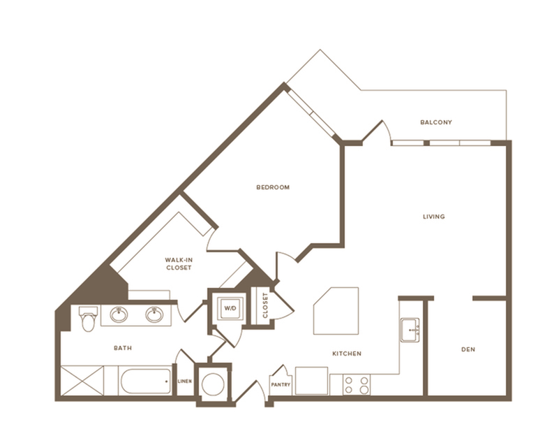991 square foot one bedroom one bath with den apartment floorplan image