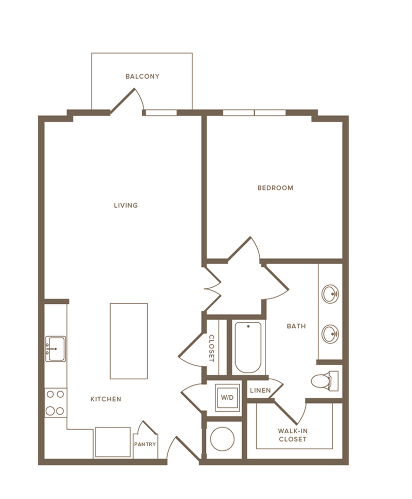 920 square foot one bedroom one bath apartment floorplan image