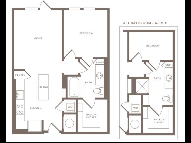 658-695 square foot one bedroom one bath floor plan image