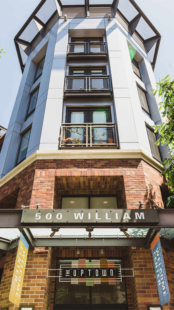 Exterior of The Uptown at 500 William
