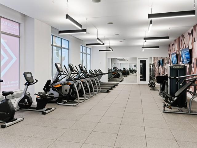 Fitness center at Modera Framingham