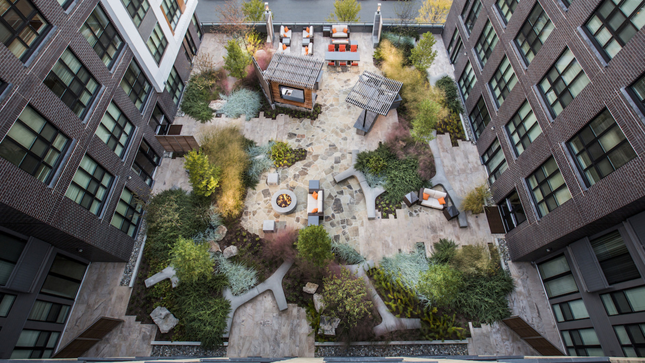 Aerial View of our Outdoor Social Lounges and Firepit