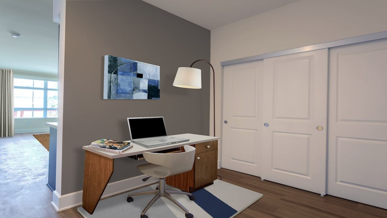 Den Area with Large Closet, Desk, and Computer