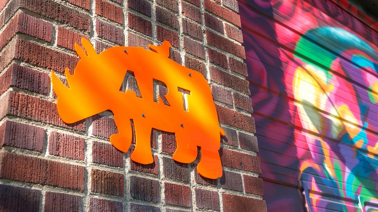 Local establishment close up of Rino Art sign