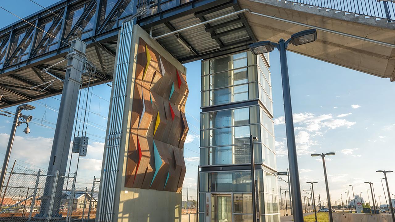 Exterior art on pedestrian bridge
