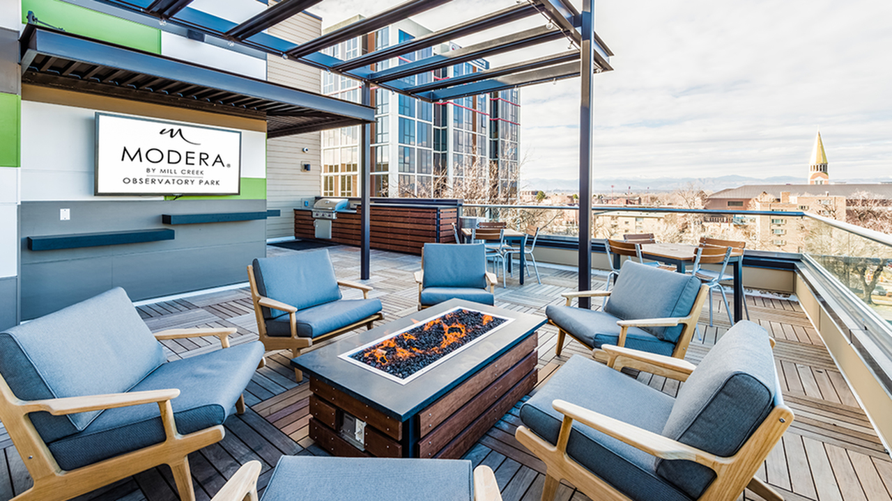 Elevated Outdoor Social Lounge with Wall Mounted Television