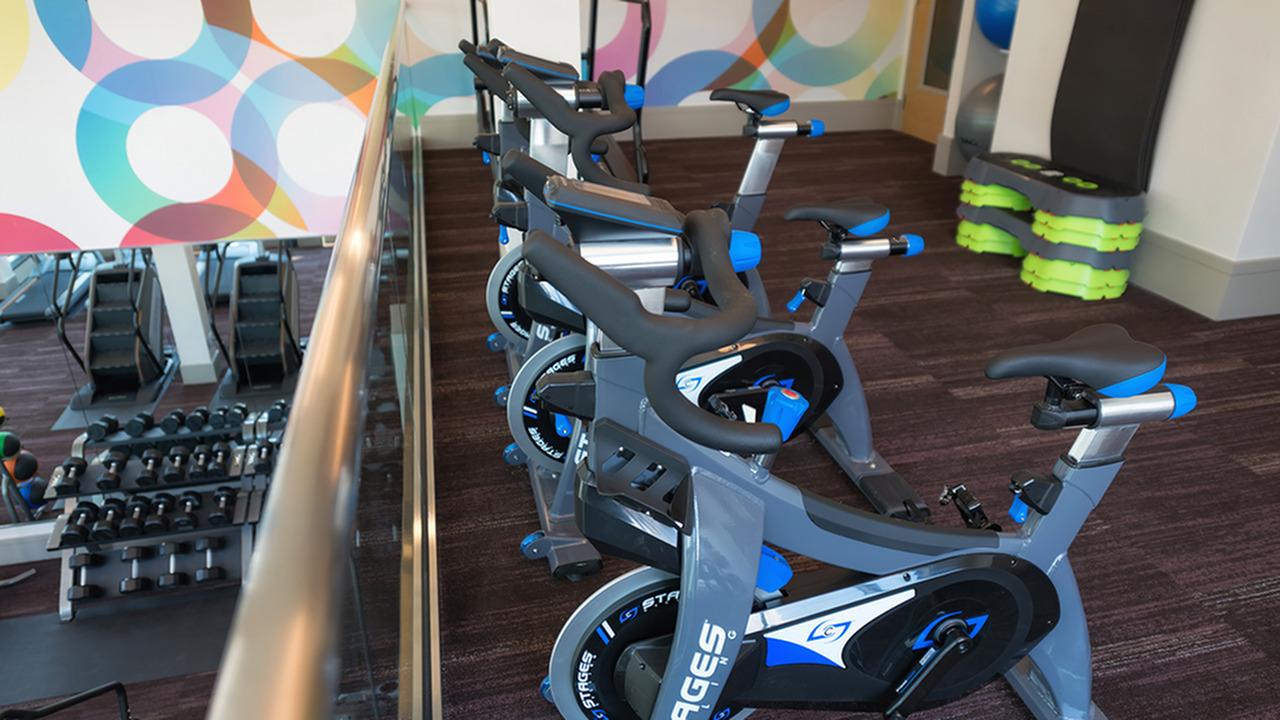 Spin Bikes on the Second Floor Overlooking the Fitness Studio