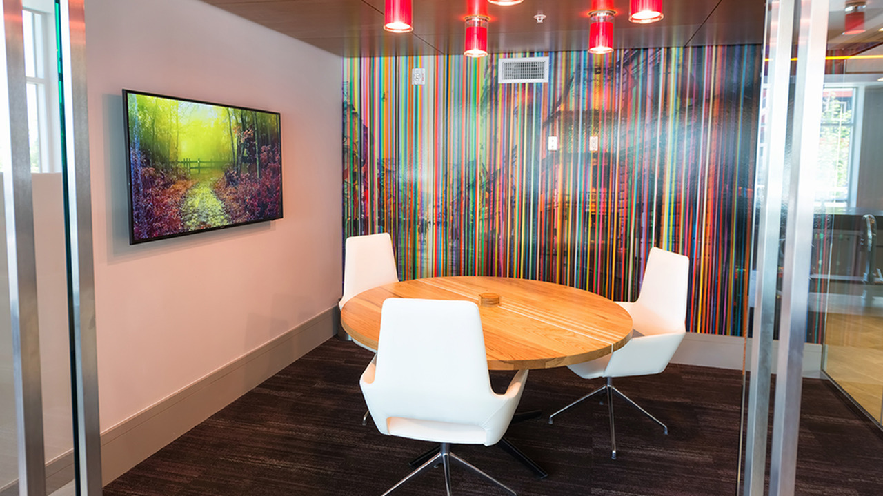 Private Work Rooms with Flat Screen Televisions