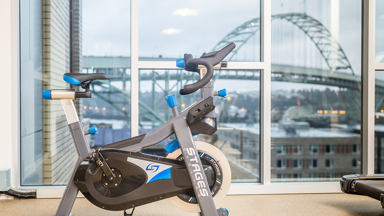 Club caliber fitness studio with cycling space