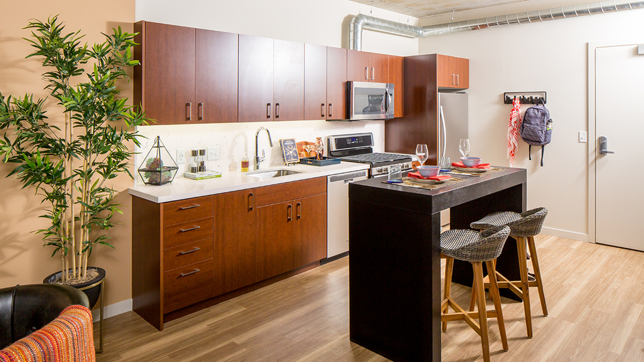 Spacious kitchen area with island