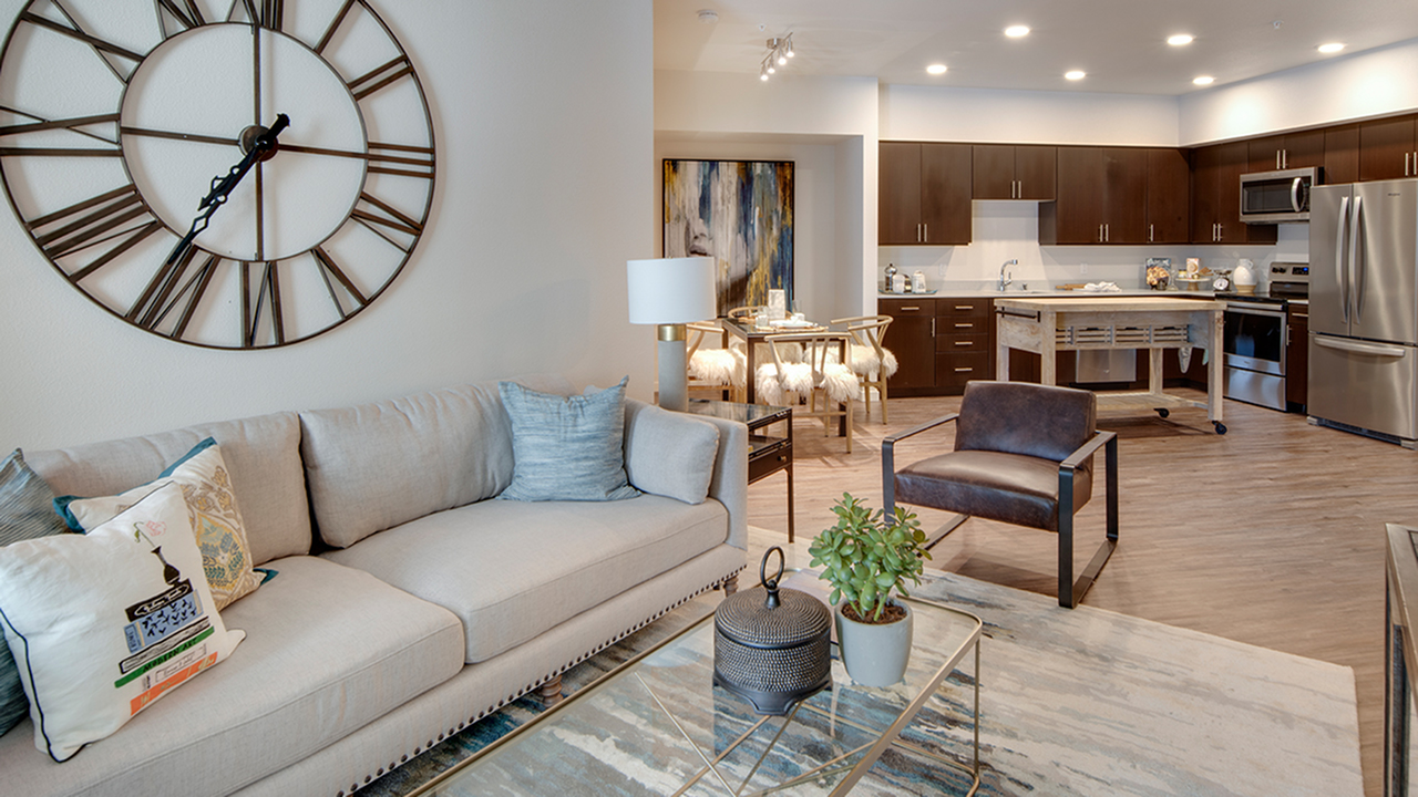 Living area into dining and kitchen