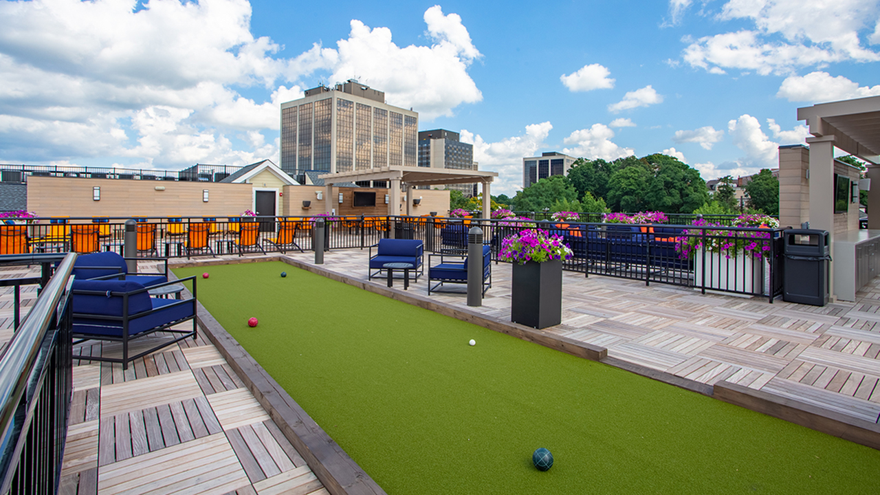 Bocce ball on rooftop deck