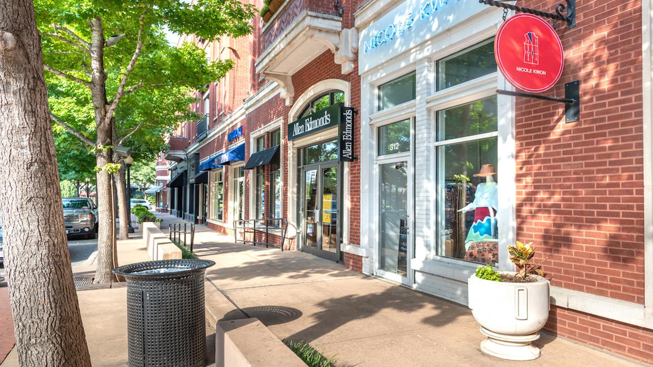 Exterior of local establishment for shopping
