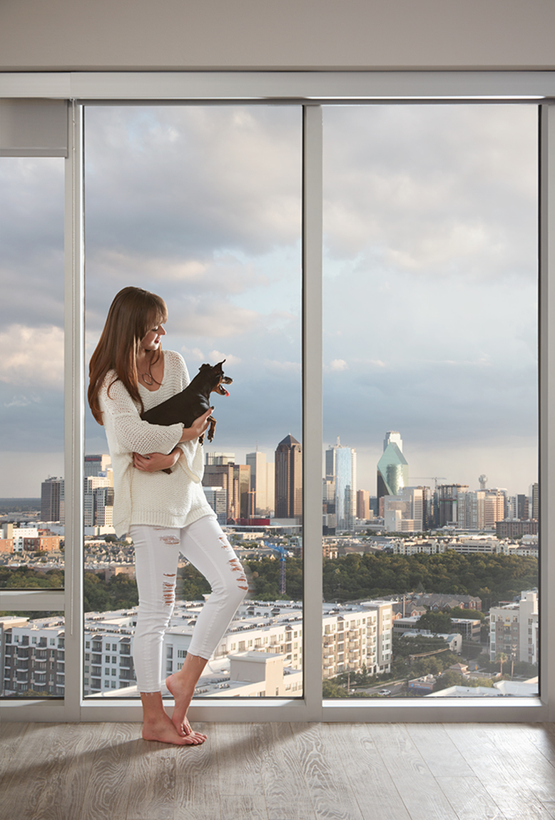 Stunning views with floor-to-ceiling windows and roller blinds