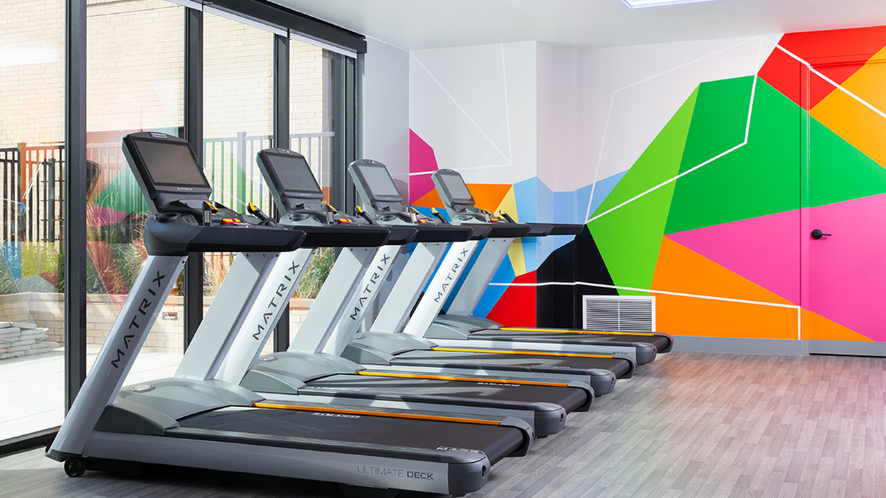 Club-quality fitness studio with plenty of treadmills