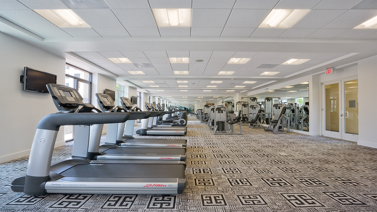 24-hr. fitness center with cardio and strength training