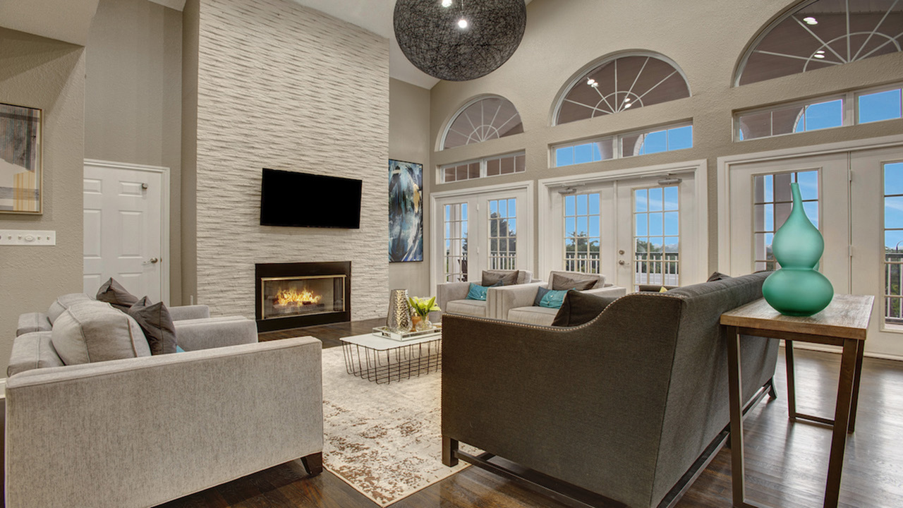 Clubhouse with fireside lounge and large decorative windows