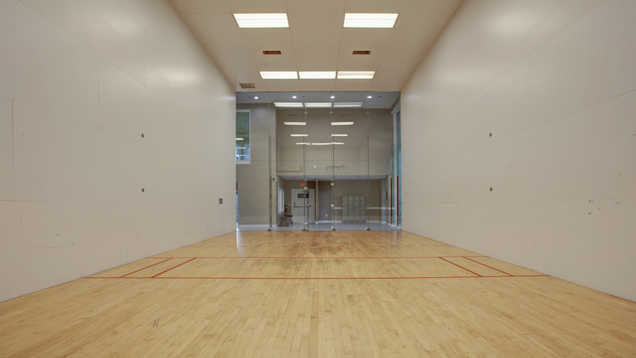 Indoor racquetball court